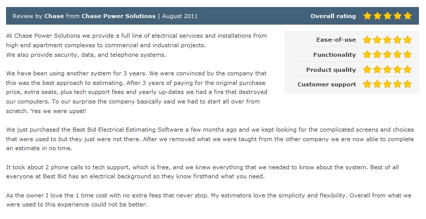 Review by Chase fromk Chase Power Solution