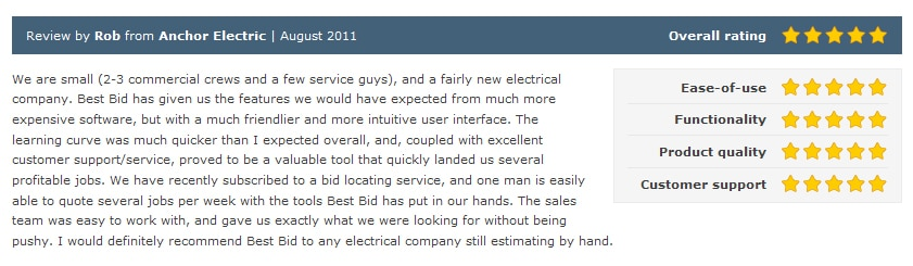 Review by Rob from Ahchor Electric