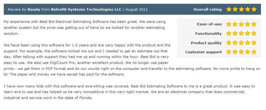 Review by Randy from Retrofit Systems Technologies LLC